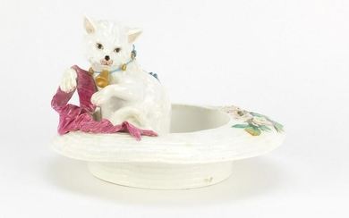 Victorian pottery cat in a straw hat, hand painted with