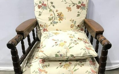 Vintage Carved Wooden Upholstered Chair On Casters