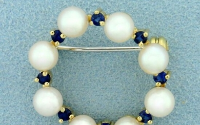 Vintage Sapphire and Akoya Pearl Circle Pin in 14K
