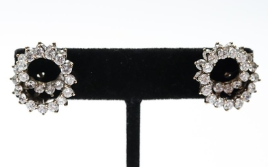 Vintage Vermeil Silver & Gold-Plated CZ Earrings