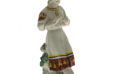 Woman with Flower Porcelain Figure.