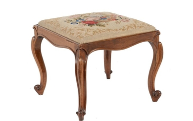 Y An early Victorian rosewood and needlework upholstered stool