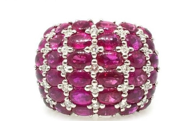 12.82 cttw Diamond and Ruby Wide Band Dome Ring in