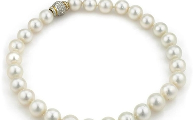 13mm Pearl Necklace with Yellow Gold Diamond Clasp