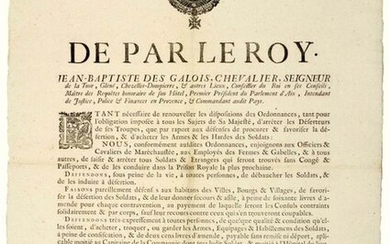 "1740. PARLIAMENT OF AIX EN PROVENCE. ARREST OF DESERTERS. Order of Mgr Jean Baptiste DES GALOIS, Seigneur De LA TOUR, the 1st President of the Parliament of AIX, and Intendant of Provence, made in AIX (13) On June 26, 1740, ""Being necessary to renew..."