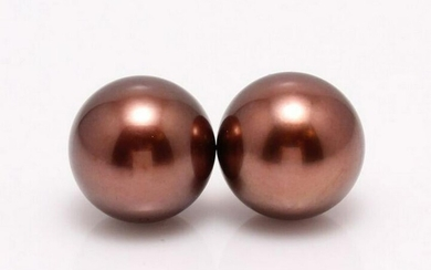 18 kt. Yellow Gold - 10x11mm Chocolate Tahitian Pearls