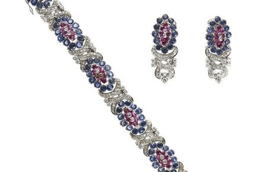 18kt white gold, sapphire, ruby and diamond demi parure