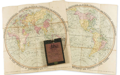 Game.- Darton (William, publisher) Walker's Geographical Pastime exhibiting a Complete Voyage Round the World in Two Hemispheres, 2 hand-coloured engraved maps, with 2 letterpress booklets of directions, William Darton, 1821.