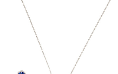 A sapphire and diamond earrings, ring and pendant necklace suite