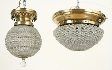 TWO BRASS CRYSTAL CEILING MOUNT LIGHT FIXTURES