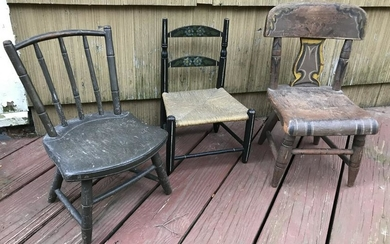 3 Antique 19th C & 20th C Doll / Child Size Chairs