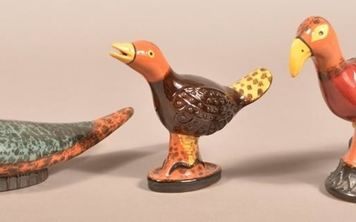 3 James Seagreaves Glazed Redware Bird Figurines.