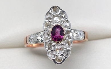 18 kt. Pink gold, Silver - Napoleon III ring diamonds - Ruby