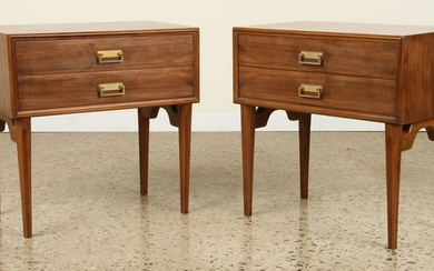 PAIR MID CENTURY MODERN WALNUT END TABLES 1960