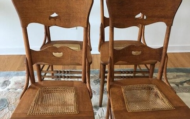 4 Country Style Caned Seat Chairs