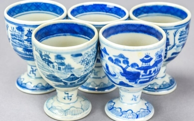 5 Chinese Canton Blue & White Porcelain Egg Cups