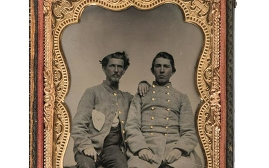 Quarter Plate Ambrotype of Two Confederate Soldiers,