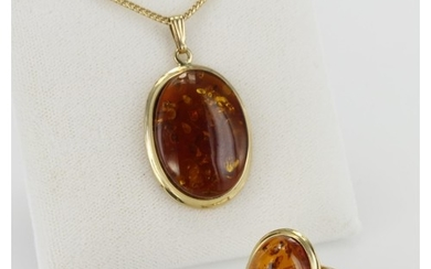 9ct Gold hallmarked Amber Ring size P plus Amber Pendant on ...