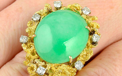 A 1970s 18ct gold 'A-type' jade and diamond textured cocktail ring, by Charles de Temple.