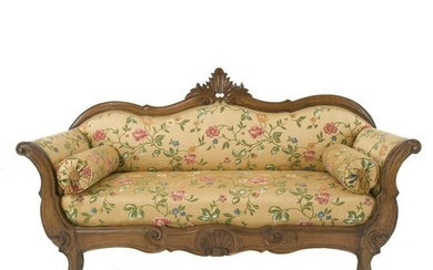 A 19th century flower cloth covered walnut sofa
