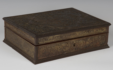 A 19th century hardwood and embossed leather box, in the manner of César Bagard, the lid and si