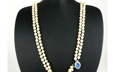 A CULTURED PEARL TWO STRAND NECKLACE.