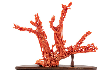 A Chinese Carved Coral Figural Group