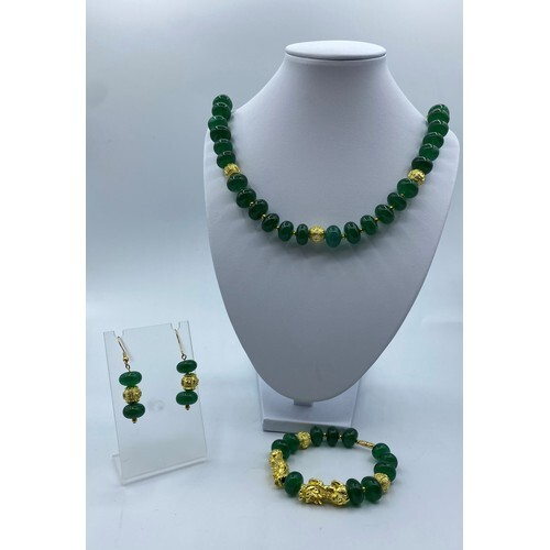 A Chinese Dark Green Jade Necklace, Bracelet and Earrings Se...