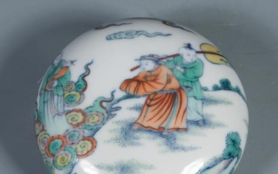 A Chinese Doucai Figure Painted Porcelain Seal Box