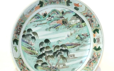 A Chinese famille verte charger, 19th century, 36cm diameter