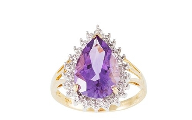 A DIAMOND AND AMETHYST CLUSTER RING, pear shaped, mounted in...