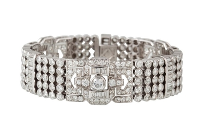 A DIAMOND BRACELET, set throughout with diamonds of approx 9...
