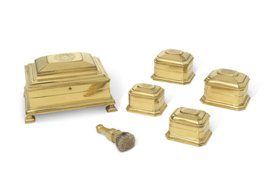 A GEORGE I GILT-METAL DRESSING-SET, EARLY 18TH CENTURY