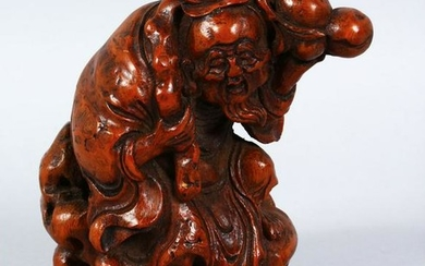 A GOOD 19TH CENTURY CHINESE CARVED BAMBOO FIGURE OF LI