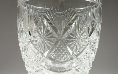 A GOOD CUT CRYSTAL WEBBS FLOWER VASE. Signed. 8ins