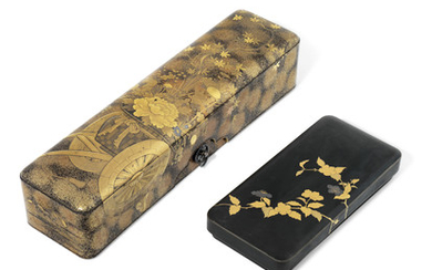 A JAPANESE LACQUER LETTER BOX (FUBAKO) AND TWO SMALLER BOXES, MEIJI PERIOD (LATE 19TH CENTURY)