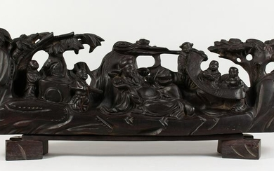 A LARGE CHINESE CARVED WOOD GROUP, many figures on a