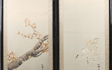 A LARGE PAIR OF JAPANESE SILK EMBROIDERED PANELS MEIJI PERIOD (1868-1912)