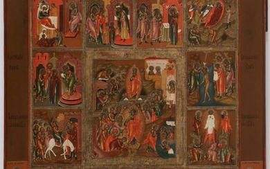 A LARGE RUSSIAN ICON RESURRECTION AND FEASTS 19TH