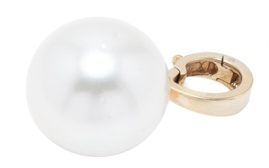 A LARGE SOUTH SEA PEARL ENHANCER; 16.2mm round cultured pearl of fine colour and lustre, lightly spotted on a 9ct gold tapered enhan...