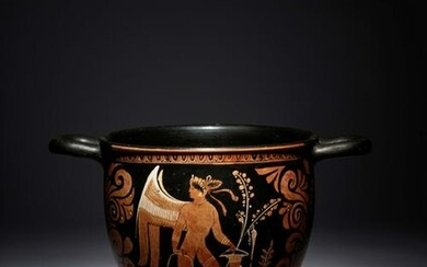 A Large Apulian Red-Figured Skyphos with Eros Height 10