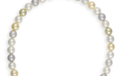 A MULTI-COLOURED CULTURED PEARL NECKLACE Composed of a...