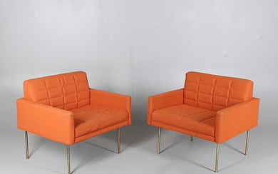 A PAIR OF GEIGER TUXEDO COMPONENT LOUNGE CLUB CHAIRS.
