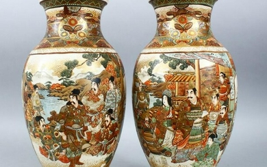 A PAIR OF JAPANESE MEIJI PERIOD SATSUMA VASES, the body