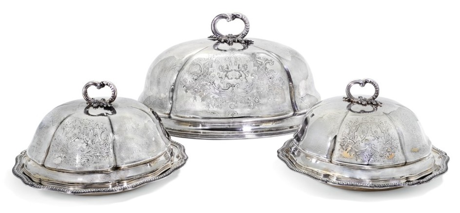 A PAIR OF VICTORIAN SILVER VEGETABLE DISHES AND COVERS, AND A MATCHING MEAT DOME, ROBERT GARRARD, LONDON, 1866