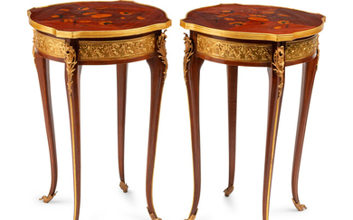 A Pair of Louis XV Style Gilt Metal Mounted Marquetry Tables