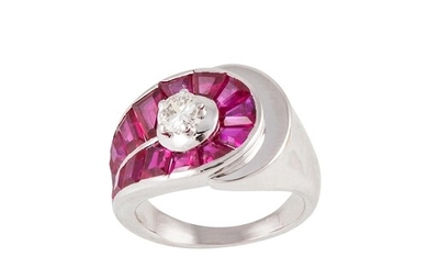 A RUBY AND DIAMOND CLUSTER RING, the brilliant cut diamond t...