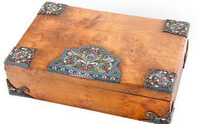 A RUSSIAN KARELIAN BIRCH BOX WITH GILT SILVER AND CLOISONNE ENAMEL MOUNTS, ST. PETERSBURG, 1908-1917