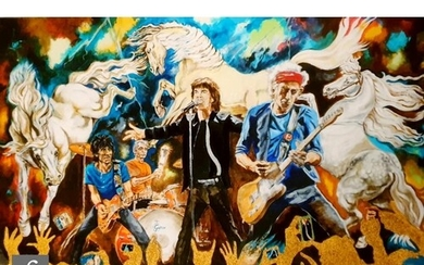 A Ronnie Wood 'Electric Horses', giclee print on paper, sign...
