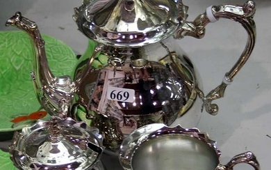 A SILVER PLATED THREE PIECE COFFEE SET